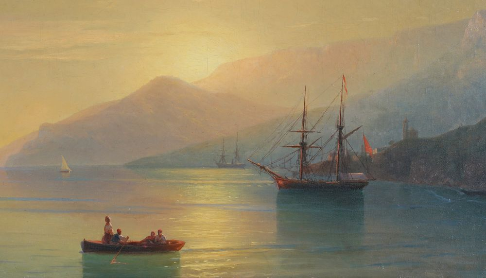 IVAN AIVAZOVSKY (1817-1900), The Turkish Coast at Sunset signed in Cyrillic and dated [...] - Image 4 of 4