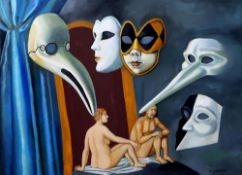 TATYANA NAZARENKO, Masks signed in Cyrillic 'T Nazarenko' (lower right) oil on [...]