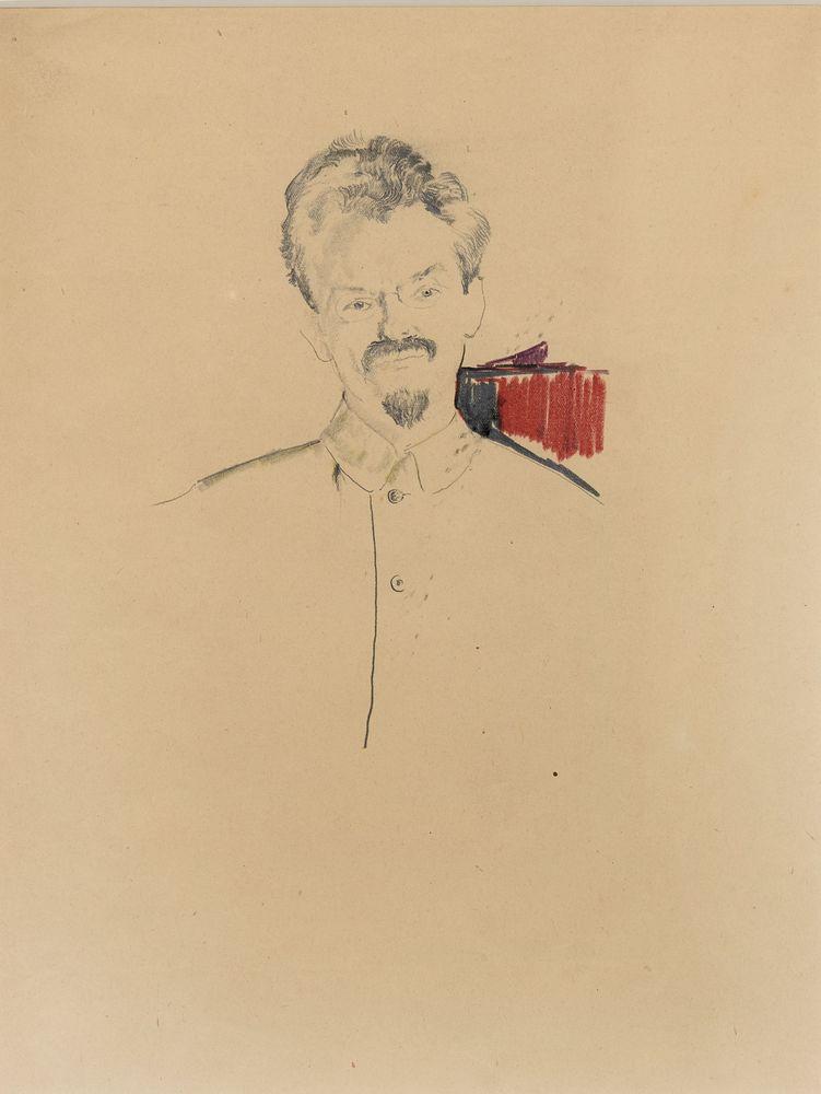 FILIPP MALYAVIN (1869-1940), Portrait of Leon Trotsky in a French Pencil, coloured [...]