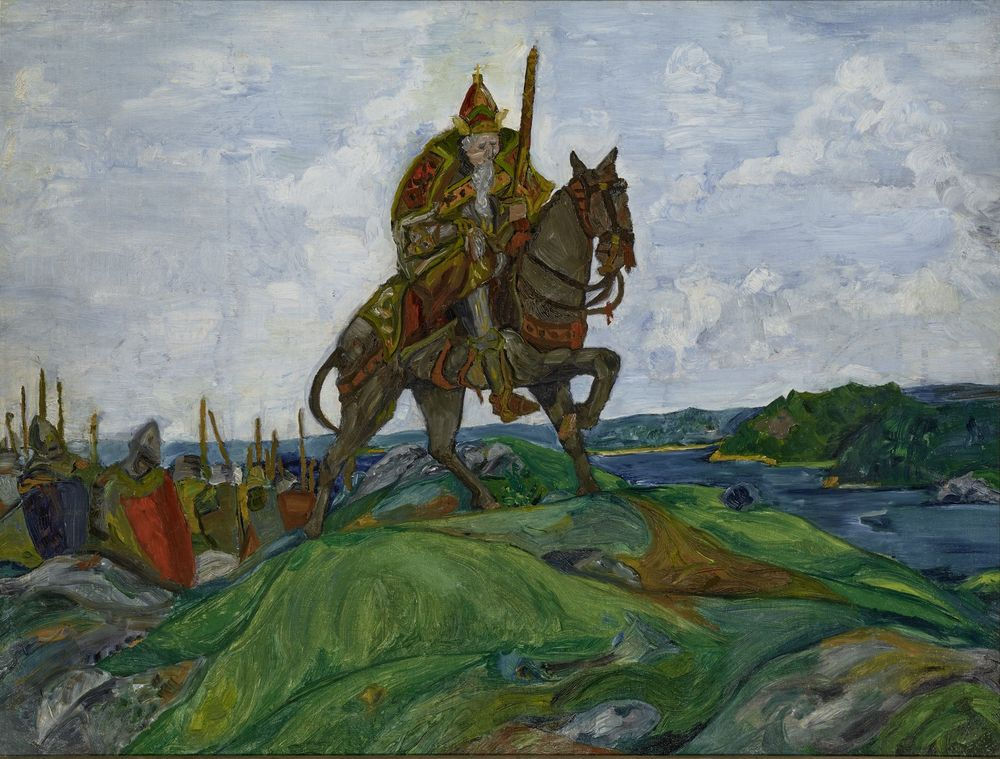 NIKOLAI ROERICH (1874-1947), Battlefield Oil on canvas laid on board 51,4 x 67,6 [...]