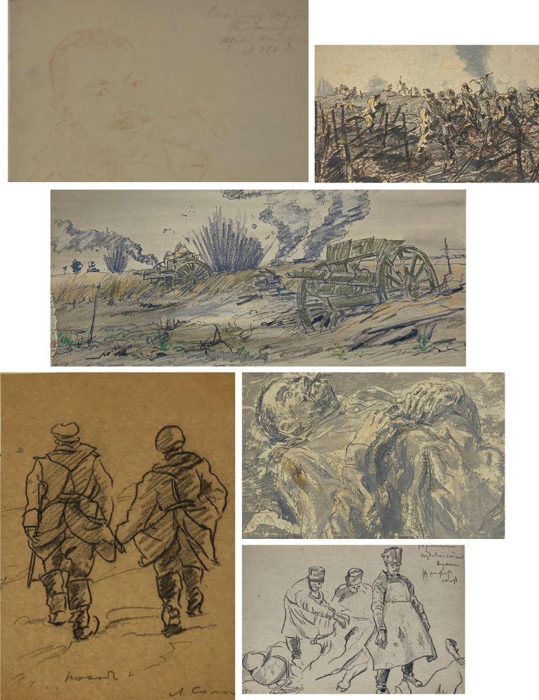 LEONID ROMANOVITCH SOLOGUB (1884-1956), Portrait of lieutenant colonel, deathbed [...]