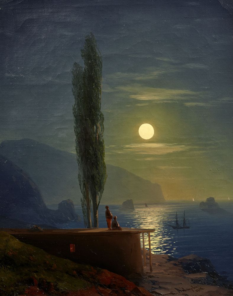IVAN KONSTANTINOVICH AIVAZOVSKY (1817-1900), Figures by a moonlight shore signed in [...]