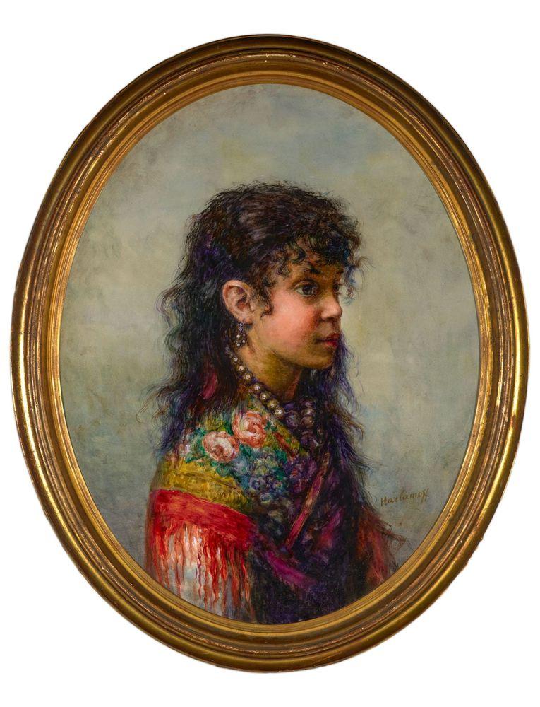 ALEXEJ HARLAMOFF (1840–1925), Portrait of a young gypsy girl signed 'Harlamoff' [...]