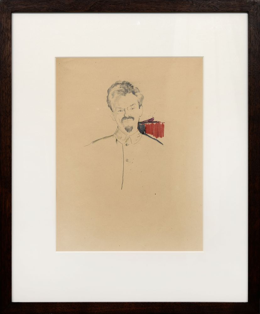 FILIPP MALYAVIN (1869-1940), Portrait of Leon Trotsky in a French Pencil, coloured [...] - Image 2 of 2