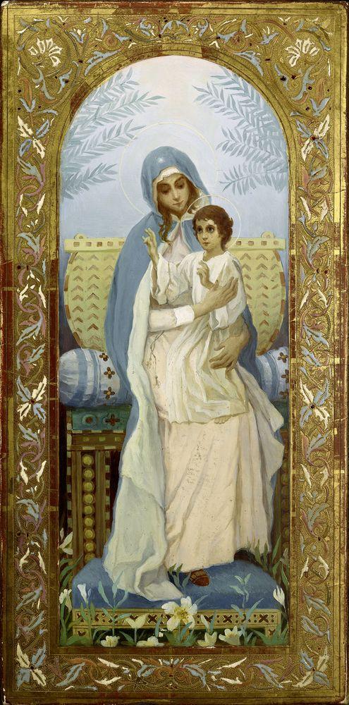 MIKHAIL NESTEROV (1862-1942), Virgin and a Child oil on panel 44.6 x 22.1 [...]