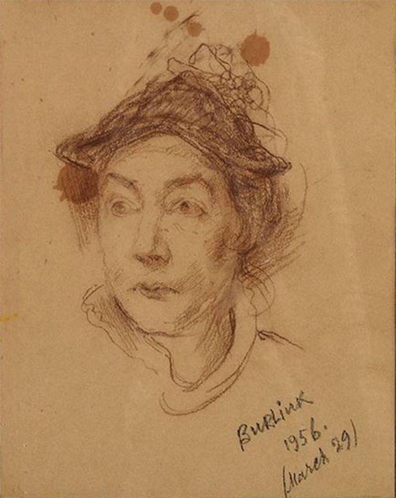 DAVID BURLIUK (1882-1967), Portrait of Marussia with hat (Wife of [...]