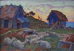 ANATOLY KAIGORODOV (1878-1945), Summer Ladscape with Resting Sheep signed and dated [...]
