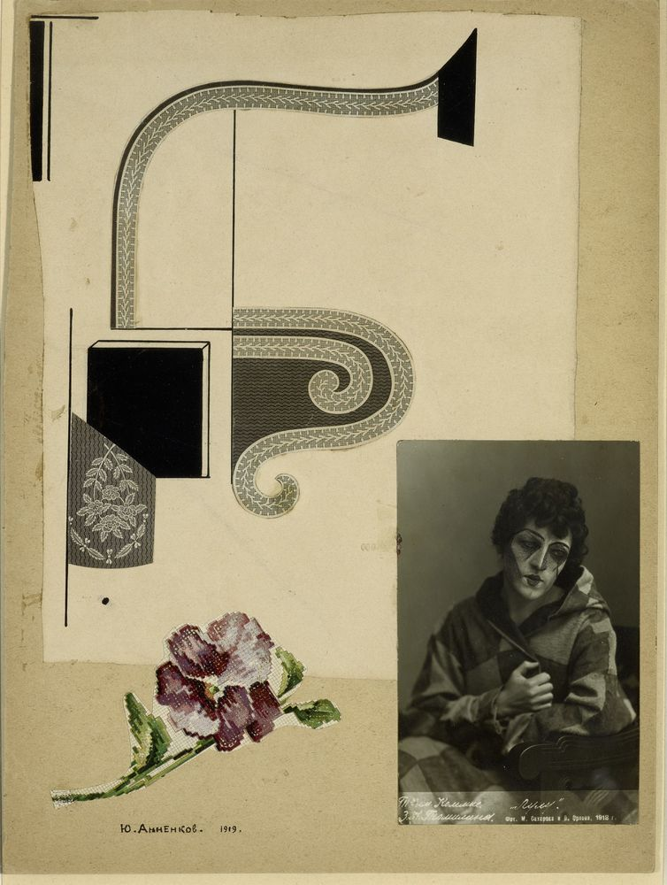 GEORGE ANNENKOV (1889-1974), Collage with portrait of Zinaida Tomilina signed in [...]