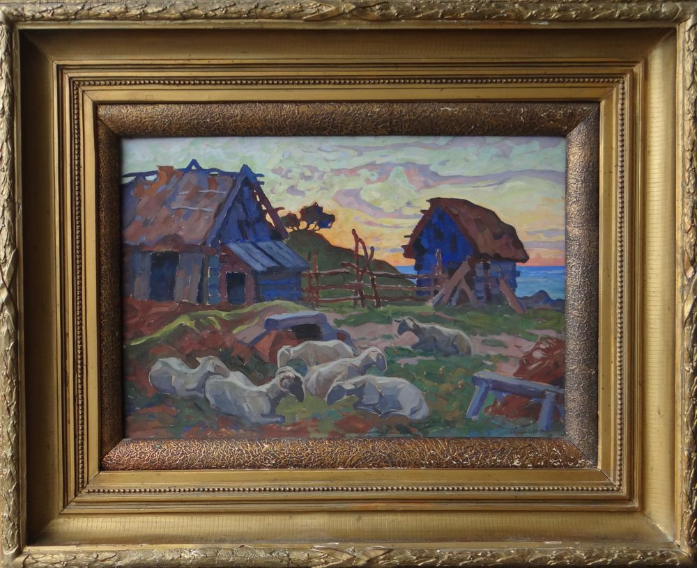 ANATOLY KAIGORODOV (1878-1945), Summer Ladscape with Resting Sheep signed and dated [...] - Image 2 of 2