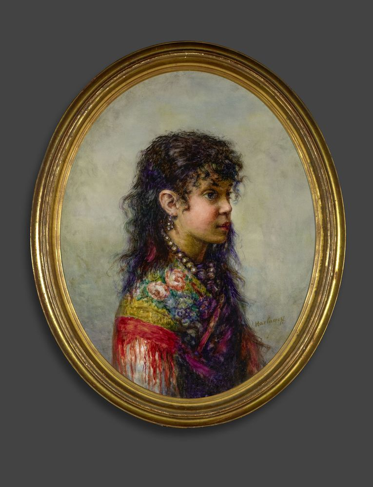 ALEXEJ HARLAMOFF (1840–1925), Portrait of a young gypsy girl signed 'Harlamoff' [...] - Image 2 of 2