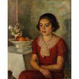 SIMKA SIMKHOVITCH (1885-1949), Girl in red Signed and dated 'Simka Simkhovitch [...]