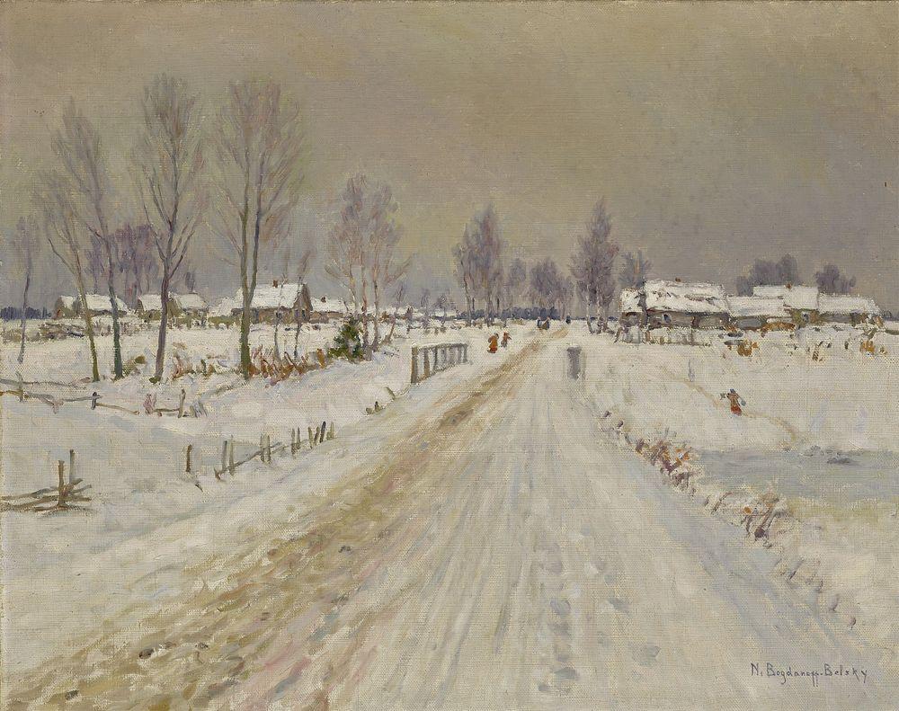 NIKOLAY BOGDANOV-BELSKY (1868-1945), Rural Winter Landscape signed 'N Bogdanoff [...]