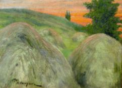 PETUKHOV A.S., Haystacks signed and dated '1904' oil on canvas 31.3 х 41.4 [...]