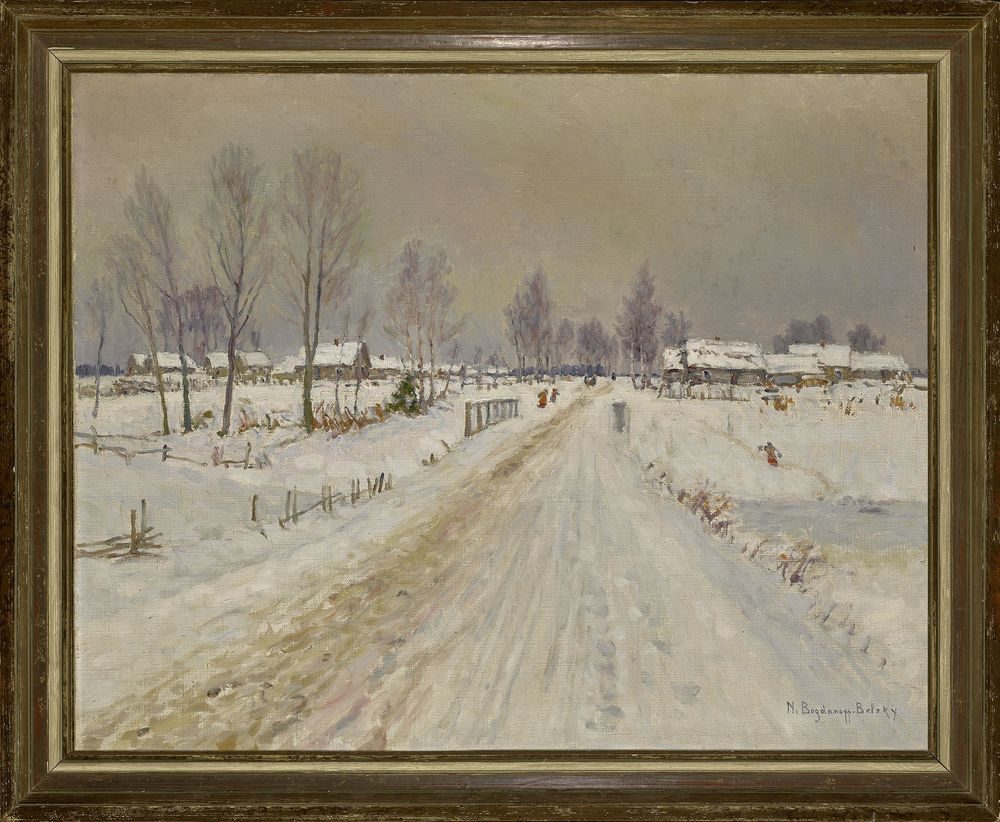 NIKOLAY BOGDANOV-BELSKY (1868-1945), Rural Winter Landscape signed 'N Bogdanoff [...] - Image 2 of 2