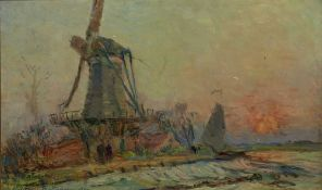 ALBERT MARIE LEBOURG (1849-1928) - A windmill near Rotterdam Signed, extensively [...]
