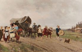 FAUSTO GIUSTO (1867–1941) - The Parade Signed 'F. Giusto' (lower right) Oil on [...]