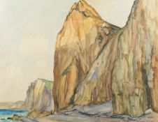 ROBERT ANTOINE PINCHON (1886-1943) - Two drawings of Cliffs at Varengeville (Falaises [...]