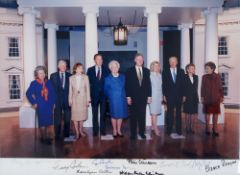 PRESIDENTS OF THE UNITED STATES AND FIRST LADIES - Color photograph, signed by four [...]