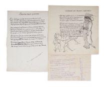 JEAN COCTEAU (1889-1963) - AUTOGRAPH POEMS one of them illustrated. 3 autograph [...]