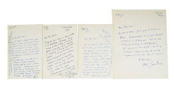JEAN COCTEAU (1889-1963) - 4 SIGNED AUTOGRAPH LETTERS to Marie CUTTOLI. Letters [...]