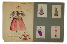 COLLECTION OF COSTUME WATERCOLOURS AND SKETCHES FOR THEATRE - Two in big format, 9 in [...]
