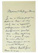 "HENRI MATISSE (1869-1954) - Autograph letter signed ""Henri Matisse"". To a [...]"