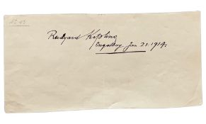 KIPLING RUDYARD (1865-1936) - Autograph sheet signed and dated. Engelberg. [...]