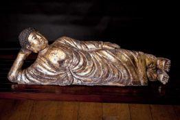 A Very Large Gilt Wood Figure of Buddha