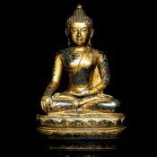 A very large gilt-bronze seated figure of Buddha
