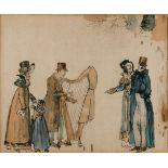 GRAFIKDer Harfespieler Farblithografie auf chamoisfarbenem Papier. Sichtmaß 22 x 27 cm. Gebräunt,