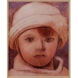 GRAFIKKinderportrait Offset auf festem Papier, koloriert. Sichtmaß 12 x 9,5 cm. Im Passepartout