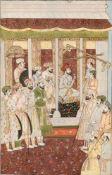 ASIATIKAELFENBEINTAFEL: AUDIENZ EINES MOGULFÜRSTEN Persien, um 1900 Polychrome Bemalung auf