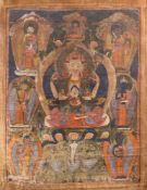 ASIATIKATHANKA MIT DARSTELLUNG DES SCHUTZPATRONES TIBETS (TSCHENRESI-AVALOKITESCHVARA) Tibet, 19.