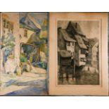 GRAFIKKonvolut 'Dorf-Impressionen' 2-tlg.; Unterschiedliche Techniken auf Papier, (1)