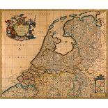 GRAFIKLandkarte Belgien Kupferstich, teilw. koloriert. Sichtmaß 56 x 47 cm. Titel und Schriftzug