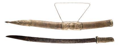 SÄBEL Südostasien, um 1900 Metall, Leder. L. ca. 81 cm. Min. besch., altersgemäße