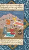 ASIATIKAPERSISCHE BUCHSEITE Persien, wohl 17./18. Jhdt. Gouache auf Papier. Sichtmaß 27 x 16 cm.