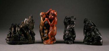 ASIATIKAVIER STEINFIGUREN China, um 1900 Stein (divers), geschnitzt. H. bis 13 cm. Min. ber.- - -