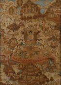ASIATIKAKONVOLUT AUS VIER TIBETANISCHEN THANGKA-DARSTELLUNGEN Tibet/Nepal, um 1900 Jeweils