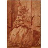 ZEICHNUNGRuhende Wollspinnerin Rötelstift auf Papier. Sichtmaß 27 x 19,5 cm. Unten rechts schwer