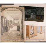 ZEICHNUNGKonvolut 'Möbel- und Raum-Entwürfe' 3 Zeichnungen, 1 Druckgrafik; Dverse Techniken,