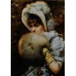 GRAFIKJunge Frau mit Muff Farb-Offset auf Struktur-Papier. Sichtmaß 18 x 12,5 cm. Rechts unten