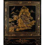 ASIATIKALACKPANEEL Japan, 20. Jhdt. Schwarzlack auf Holzplatte. H. 30 cm x B. 25 cm x T. 2 cm. Part.