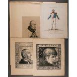 GRAFIKKonvolut 'Verschiedene Herrencharaktere' 4-tlg.; Diverse Techniken auf Papier, darunter ein