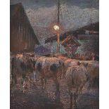 AQUARELLKühe auf dem Dorfweg Pastell auf Papier. Sichtmaß 26 x 21,5 cm. In Passepartout montiert und