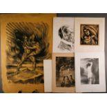 GRAFIKDiverse Grafiken mit Figurendarstellungen 6-tlg.; Verschiedene Techniken, u. A. Lithografie.