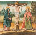 SÜDDEUTSCHER MALERTätig um 1600.ZWEI TAFELBILDER: KREUZIGUNG CHRISTI UND KREUZABNAHME Öl auf Holz.