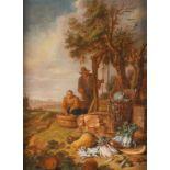 WILLEM KALF (ATTR.)1619 Rotterdam - 31. Juli 1693 AmsterdamBAUERNPAAR AM BRUNNEN MIT HERBSTLICHEM