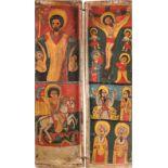 GROSSFORMATIGES DIPTYCHON MIT DER HÖLLENFAHRT CHRISTI, DER KREUZIGUNG UND AUSGEWÄHLTEN HEILIGEN