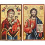 MONUMENTALES DATIERTES IKONEN-PAAR MIT DER GOTTESMUTTER HODEGETRIA UND CHRISTUS PANTOKRATOR